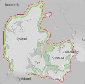 Danmark rundt i kajak ruten