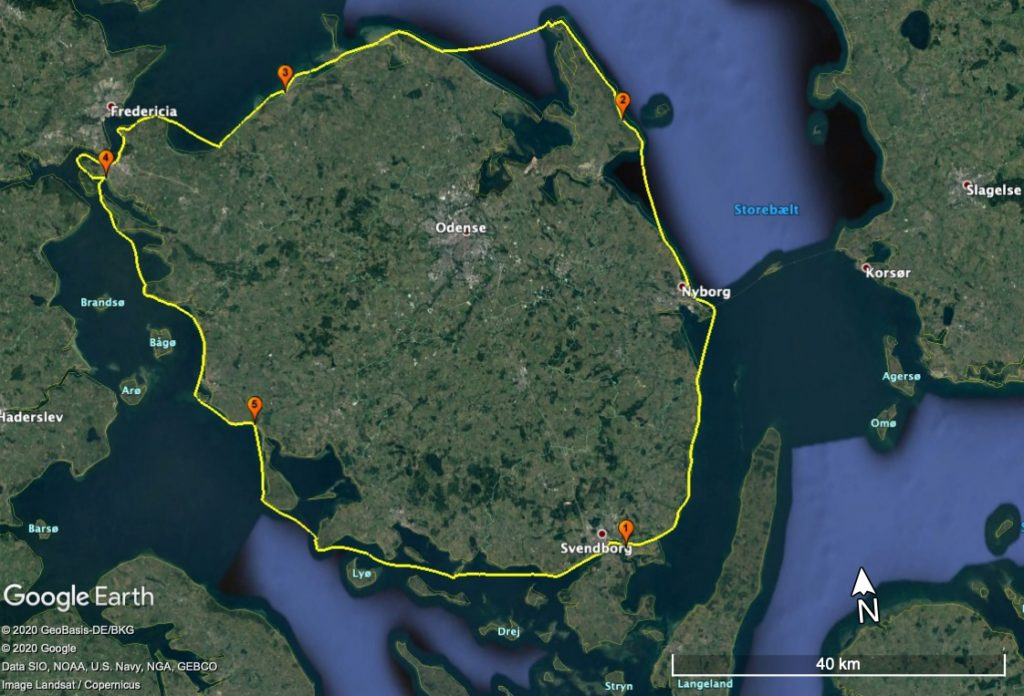 Den Trackede rute Fyn Rundt 2020